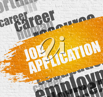 Education Concept: Job Application on the Brick Wall Background with Word Cloud Around It. Job Application Modern Style Illustration on the Yellow Distressed Paintbrush Stripe.