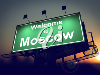 Welcome to Moscow - Green Billboard on the Rising Sun Background.