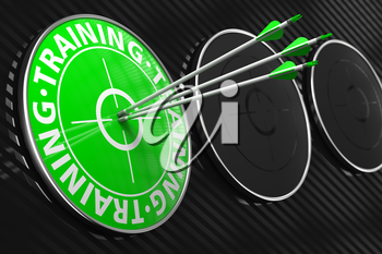 Training Concept. Three Arrows Hitting the Center of Green Target on Black Background.