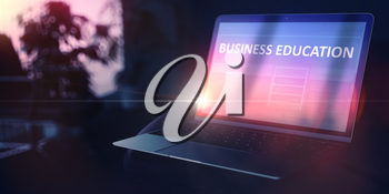 Business Education on Modern Portable Ultrabook. Evening Education Concept. 3D.