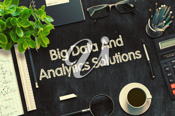 Big Data And Analytics Solutions Concept on Black Chalkboard. 3d Rendering. Toned Illustration.