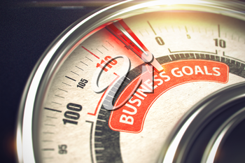 Conceptual Illustration of a Scale with Red Needle Pointing to Maximum of Business Goals. Horizontal image. 3D.