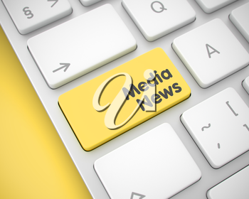 Media News Written on the Yellow Keypad of Aluminum Keyboard. Modern Computer Keyboard Button Showing the InscriptionMedia News. Message on Keyboard Yellow Keypad. 3D Illustration.