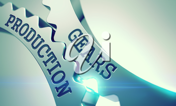 Gears Production Metallic Cog Gears - Business Concept. with Lens Flare. Gears Production on the Mechanism of Metal Cog Gears. Business Concept in Technical Design. 3D Render .