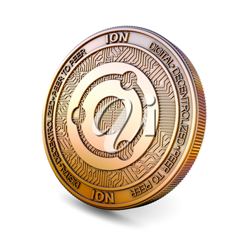 Ion ION - Cryptocurrency Coin Isolated on White Background. 3D rendering