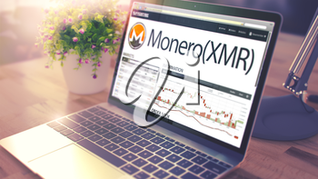 The Dynamics of Cost of Monero - XMR on the Modern Laptop Screen. Cryptocurrency Concept. Toned Image with Selective Focus. 3D Render .