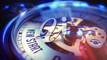 New Start. on Pocket Watch Face with Close View of Watch Mechanism. Time Concept. Lens Flare Effect. Vintage Watch Face with New Start Phrase on it. Business Concept with Film Effect. 3D.