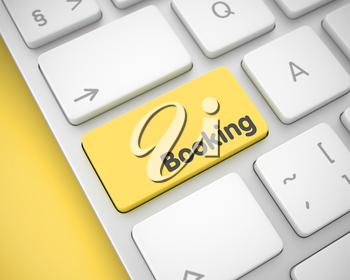 Slim Aluminum Keyboard Key Showing the InscriptionBooking. Message on Keyboard Yellow Key. Online Service Concept with Laptop Enter Yellow Keypad on Keyboard: Booking. 3D Render.