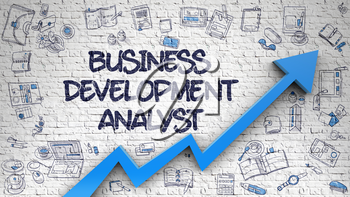 Business Development Analyst Drawn on White Brick Wall. Illustration with Doodle Design Icons. Business Development Analyst - Increase Concept. Inscription on Brick Wall with Hand Drawn Icons Around.