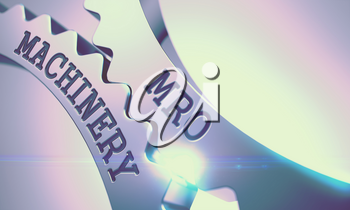 MRO Machinery on the Mechanism of Metal Cog Gears. Interaction Concept in Technical Design . Shiny Metal Cogwheels with MRO Machinery Message . 3D Render .
