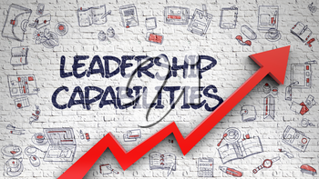 Leadership Capabilities Inscription on Line Style Illustration. with Red Arrow and Hand Drawn Icons Around. Leadership Capabilities - Modern Illustration with Doodle Elements.