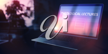 Theological Lectures on Beautiful Space Gray New Model of Stylish Contemporary Laptop. Self-development Concept. 3D.