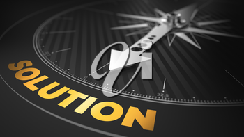 3D Illustration of an Abstract Compass Over Black Background with Needle Pointing the Text: Solution - Business Concept.