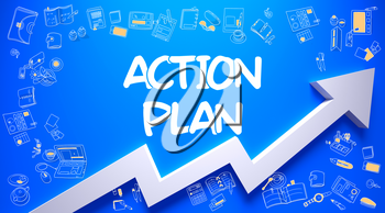 Action Plan - Enhancement Concept with Doodle Icons Around on the Azure Surface Background. Action Plan Inscription on the Modern Style Illustation. with Arrow Arrow and Doodle Design Icons Around.