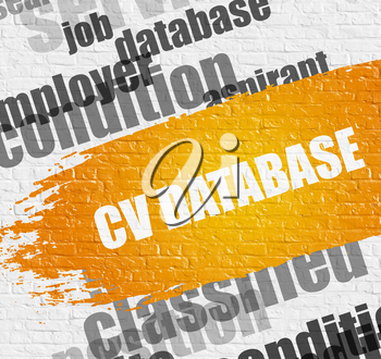 Business Education Concept: CV Database on Brick Wall Background with Word Cloud Around It. CV Database Modern Style Illustration on Yellow Grunge Paint Stripe.