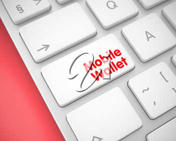 Business Concept: Mobile Wallet on the Modernized Keyboard lying on Red Background. Online Service Concept. White Button on White Keyboard. 3D Render.