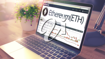 Modern Workplace with Notebook showing Website with Cryptocurrency Market of Ethereum - ETH. Tinted Image with Blurred Image. 3D Illustration .
