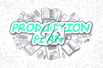 Production Plan - Hand Drawn Business Illustration with Business Doodles. Green Text - Production Plan - Cartoon Business Concept.