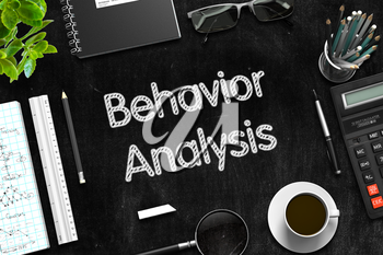 Behavior Analysis Handwritten on Black Chalkboard. Top View Composition with Black Chalkboard with Office Supplies Around. 3d Rendering.
