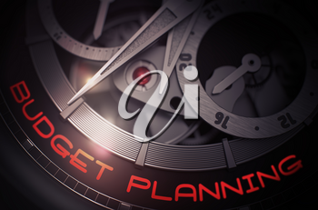 Budget Planning on the Face of Luxury Watch Machinery Macro Detail Monochrome. Budget Planning on Mechanical Pocket Watch, Chronograph Close-Up. Work Concept with Glowing Light Effect. 3D Rendering.