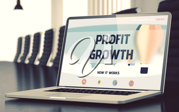 Mobile Computer Screen with Profit Growth Concept on Landing Page. Closeup View. Modern Meeting Hall Background. Blurred Image with Selective focus. 3D Rendering.