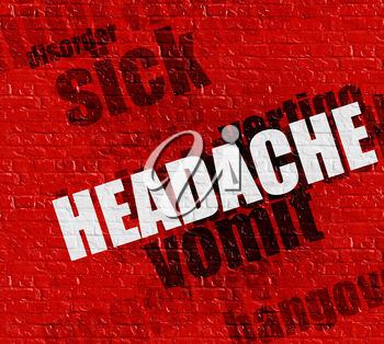 Medicine concept: Headache - on the Brick Wall with Word Cloud Around . Red Wall with Headache on it .