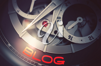 Blog - Elegant Wristwatch with Visible Mechanism and Inscription on the Face. Old Watch with Blog on Face, Symbol of Time. Business Concept with Glow Effect and Lens Flare. 3D Rendering.