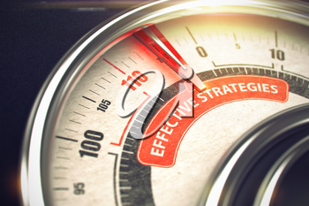 Conceptual Illustration of a Compass with Red Needle Pointing to Maximum of Effective Strategies. Horizontal image. 3D.