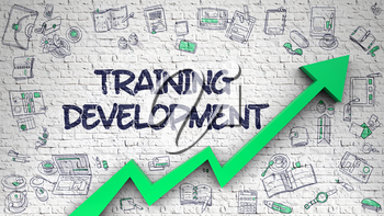 Training Development Drawn on White Brick Wall. Illustration with Green Arrow and Doodle Design Icons Around. 3d