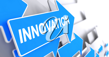 Innovation, Text on Blue Pointer. Innovation - Blue Cursor with a Text Indicates the Direction of Movement. 3D Render.