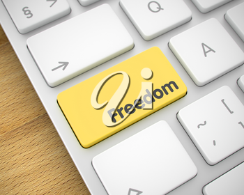 Service Concept with Conceptual Enter Yellow Keypad on Keyboard: Freedom. Laptop Keyboard Keypad Showing the InscriptionFreedom. Message on Keyboard Yellow Button. 3D Render.