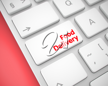 Business Concept: Food Delivery on Modernized Keyboard lying on Red Background. Food Delivery Button on Keyboard Keys. with Red Background. 3D Render.