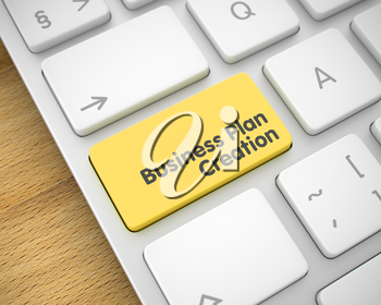 Service Concept. Yellow Button on Conceptual Keyboard. Modernized Keyboard Keypad Showing the TextBusiness Plan Creation. Message on Keyboard Yellow Key. 3D Illustration.