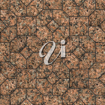 Seamless Tileable Texture with Geometric Pattern. Polished Marble or Red Granite.