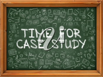 Green Chalkboard with Hand Drawn Time for Case Study with Doodle Icons Around. Line Style Illustration.