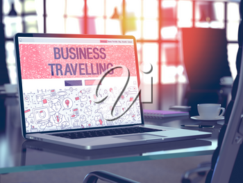 Business Travelling Concept. Closeup Landing Page on Laptop Screen in Doodle Design Style. On Background of Comfortable Working Place in Modern Office. Blurred, Toned Image. 3D Render.