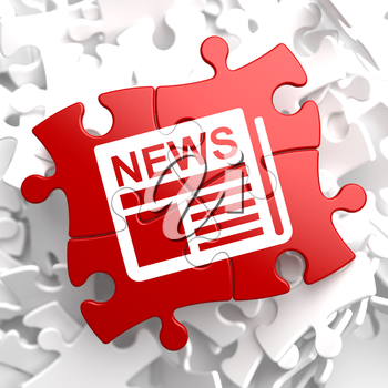 Newspaper Icon with News Word on Red Puzzle. Mass Media Concept.