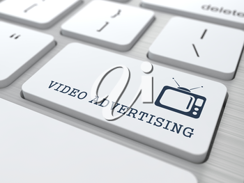 Video Advertising - Button with TV Set Icon on White Computer Keyboard.