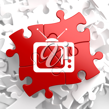 TV Set Icon on Red Puzzle. Television Concept.