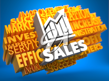 Sales with Growth Chart Icon on Yellow WordCloud on Blue Background.