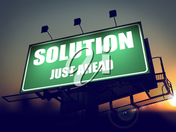 Solution Just Ahead - Green Billboard on the Rising Sun Background.