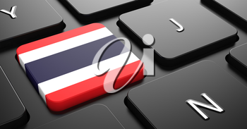 Flag of Thailand - Button on Black Computer Keyboard.