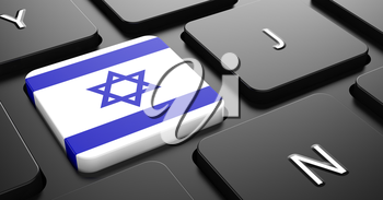 Flag of Israel - Button on Black Computer Keyboard.