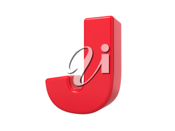 Red 3D Plastic Letter J Isolated on White.