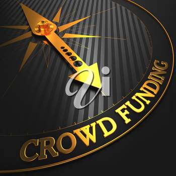 Crowd Funding - Golden Compass Needle on a Black Field Pointing.