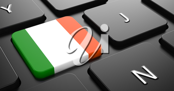Flag of Ireland - Button on Black Computer Keyboard.