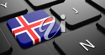 Flag of Iceland - Button on Black Computer Keyboard.