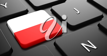 Flag of Poland - Button on Black Computer Keyboard.