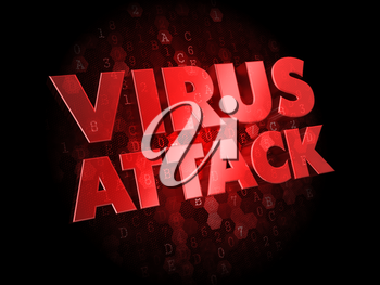 Virus Attack - Red Color Text on Dark Digital Background.