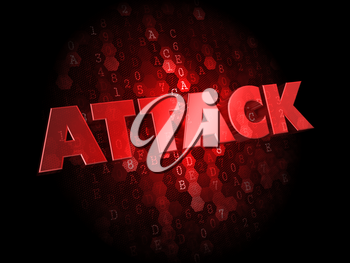 Attack - Red Color Text on Dark Digital Background.